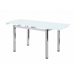 Mesa extensible140 (220) x 90 cm. con cristal blanco.