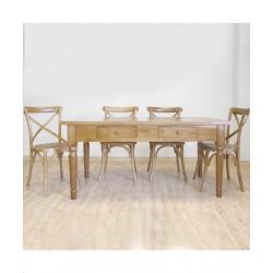 Conjunto Mesa y 4 sillas. Rústiko. Madera.