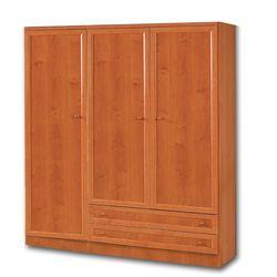 Armario 3 puertas. Enmarcado, color cerezo.