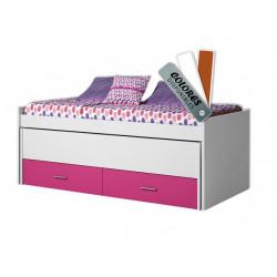 Cama doble compacta, con cama oculta y cajón nido. Con trasera refuerzo.