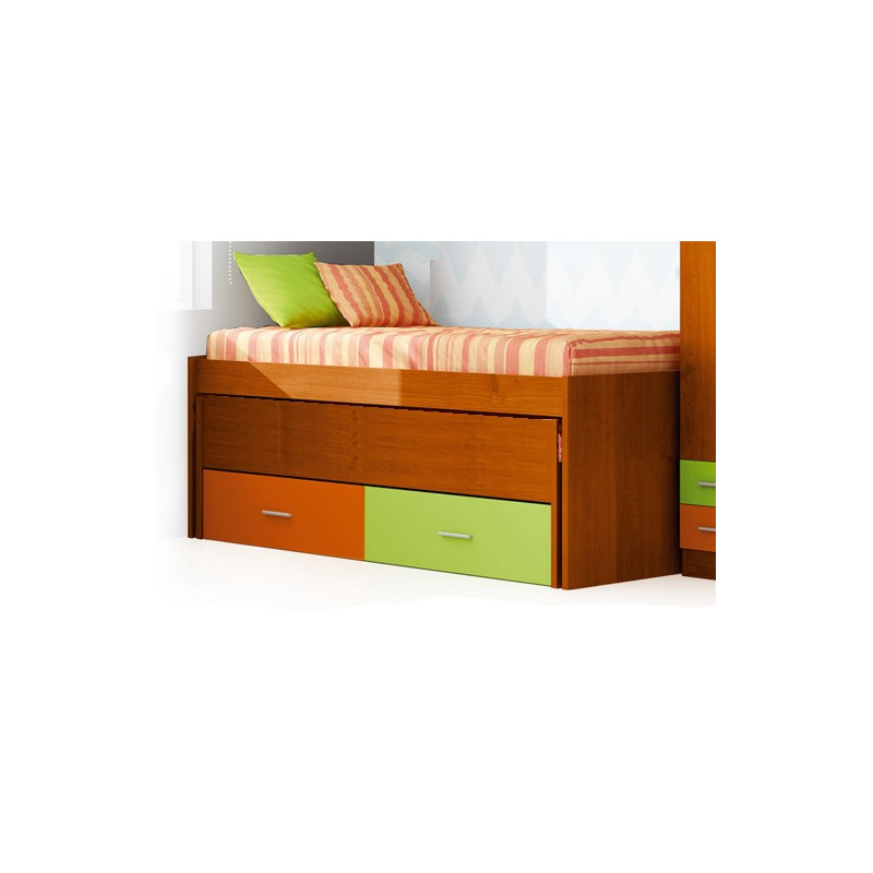 Cama doble compacta con cama oculta y caj n nido tresilar - Cama doble nido ...
