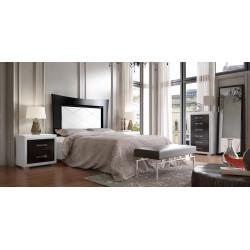 Dormitorio Completo. Lacado. Cabecero 135/150, 2 mesitas, sinfonier y espejo.