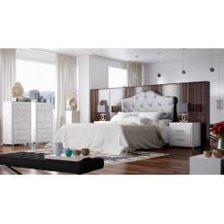 Dormitorio Completo. Lacado. Cabecero 135/150, 2 mesitas, 2 sinfoniers.