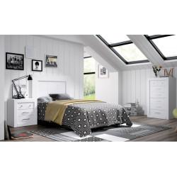 Dormitorio Completo. Madera. Lacado blanco.