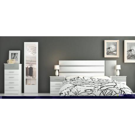 Dormitorio completo blanco y plata tresilar - Dormitorios modernos en blanco y plata ...