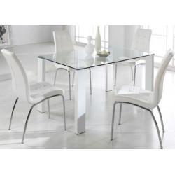 Conjunto Mesa cristal 140x90 y 4 sillas