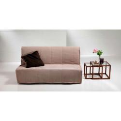 Sofá cama desenfundable de apertura frontal. Marrón Oscuro.