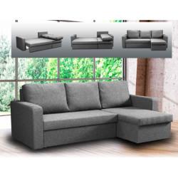 Sofá cama chaise-longue reversible con arcón. Color Gris.