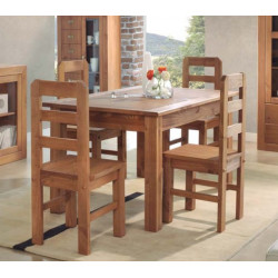 Conjunto Mesa extensible y 4 sillas. Madera.