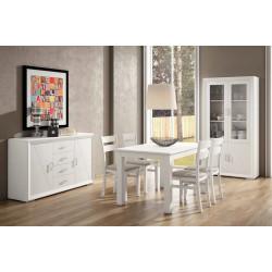 Conjunto aparador, vitrina, mesa y 4 sillas. Blanco lacado, Nogal