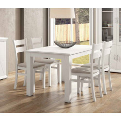 Mesa extensible 85 x 140. Blanco lacado, Nogal
