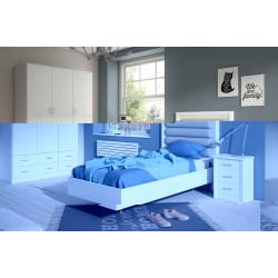 Dormitorio Juvenil. Blanco lacado o Nogal.