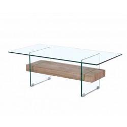 Mesa de centro con sobre y patas en cristal
