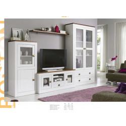 Mueble de Salón 297cm. Madera. Lacado Blanco.