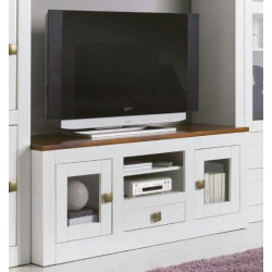 Mueble TV 130 x 55 x 45 cm. Madera. Lacado Blanco.