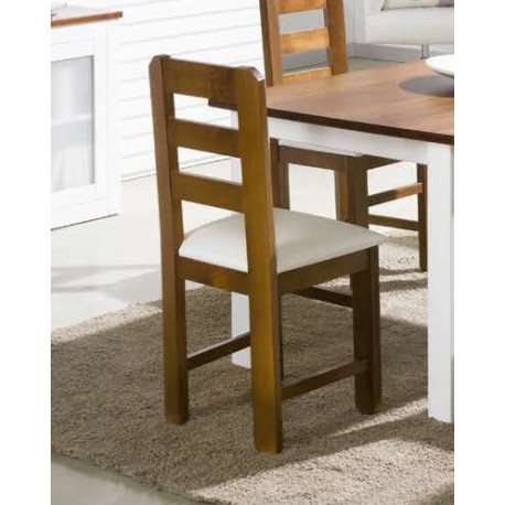 silla madera blanca tapizada