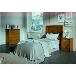 Dormitorio Juvenil. Blanco lacado, Nogal.