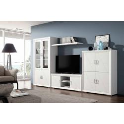 Mueble de Salón. 340 cm. Blanco lacado, Nogal.
