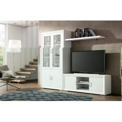 Mueble de Salón. 240 cm. Blanco lacado, Nogal