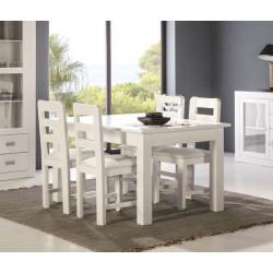 Conjunto Mesa y 4 sillas. Lacado blanco.
