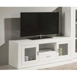 Mueble TV 140x60x50 cm. Lacado blanco.