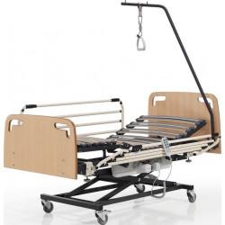 Somier geriátrico con carro elevador y ruedas con frenos.