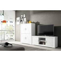 Mueble de Salón. 240 cm. Blanco lacado, Nogal.