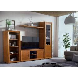 Mueble de Salón. 297 cm.  Blanco lacado, Nogal
