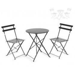 Set plegables de mesa redonda y dos sillas en acero