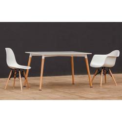 Mesa de de diseño con patas cilíndricas. 120 x 80 x 75 cm.