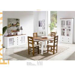 Conjunto Vitrina, Aparador, Mesa y 4 sillas. Madera. Lacado Blanco.