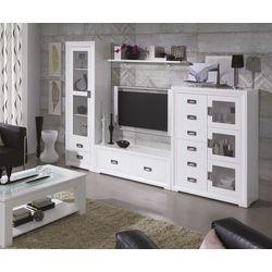 Mueble salón 290 cm. Madera y DM lacado blanco.