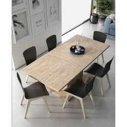 Mesa de comedor extensible Pata central. 120 x 90 cm.