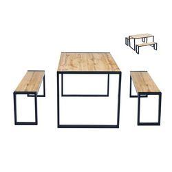 Conjunto de mesa y dos bancos
