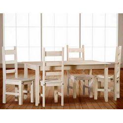 Conjunto de mesa y sillas. Madera maciza.