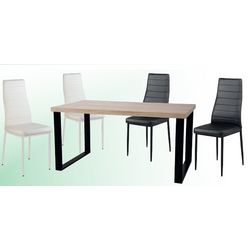 Conjunto de mesas y sillas modernas.