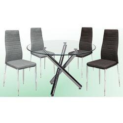 Conjunto de mesa redonda y 4 sillas modernas.
