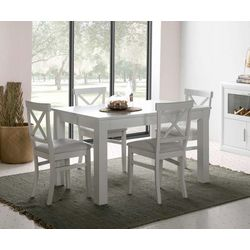 Conjunto mesa extensible y 4 sillas. Lacado blanco.