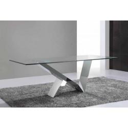 Mesa fija con sobre de cristal templado y biselado.