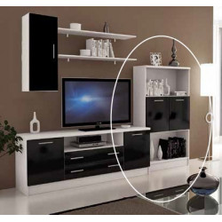 Mueble bar. 80x135x30. Blanco-Negro brillo.